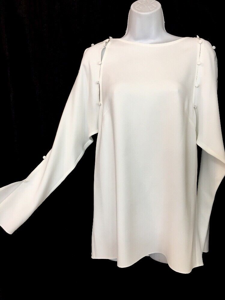 Lanvin Blouse Weiß With Buttons Down The Sleeve And Front Größe 36