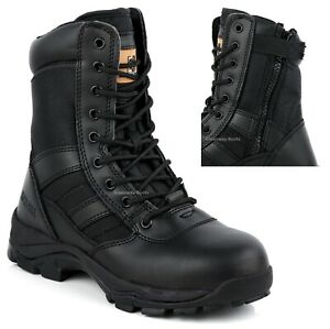 Mens Safety Steel Toe Cap Combat Boot Police Army Military CADET Boots size uk 9