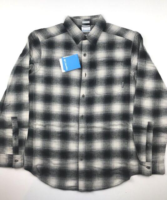 211119a4a3f1 Columbia Mens Large Black Creme Plaid Boulder Ridge Brushed Flannel Shirt  NWT