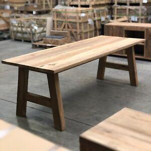 Details zu Tisch Esstisch Küchentisch Atelier Loft Teak Altholz Holzgestell  Unikat 260 x 90
