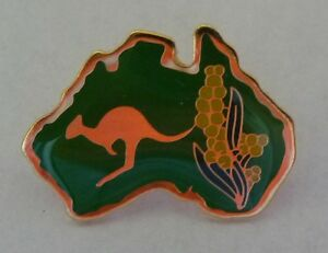 GREEN-Australian-Map-with-KANGAROO-Wattle-Hat-Lapel-PIN-Australia-Souvenir-Badge