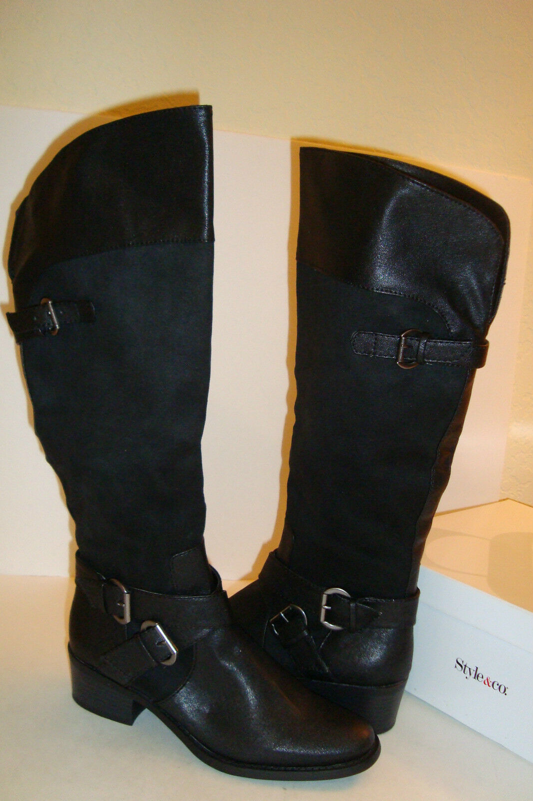 Style & Co Womens NWB Ralley Black Boots Shoes 6 MED NEW