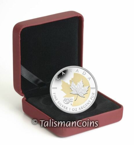 Canada 2013 25th Anniversary of SML $5 Pure Silver Maple Leaf Gold Plating