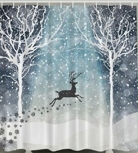 Reindeer Forest Snow Fabric SHOWER CURTAIN Christmas Holiday