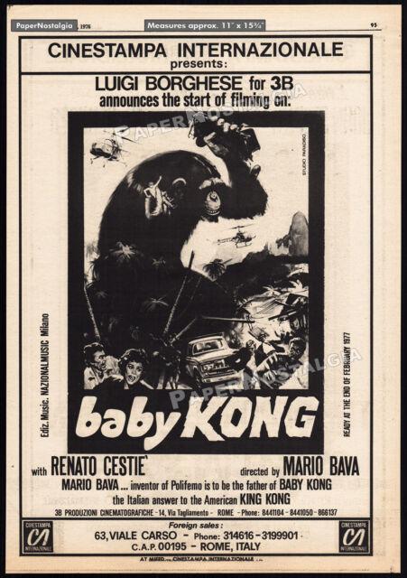 Mario Bava__BABY KONG__Original 1976 Trade AD promo / poster__Italian King Kong?