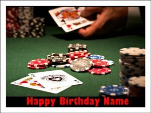 Stupendous Poker Table Edible Icing Image Birthday Cake Topper Party Funny Birthday Cards Online Unhofree Goldxyz