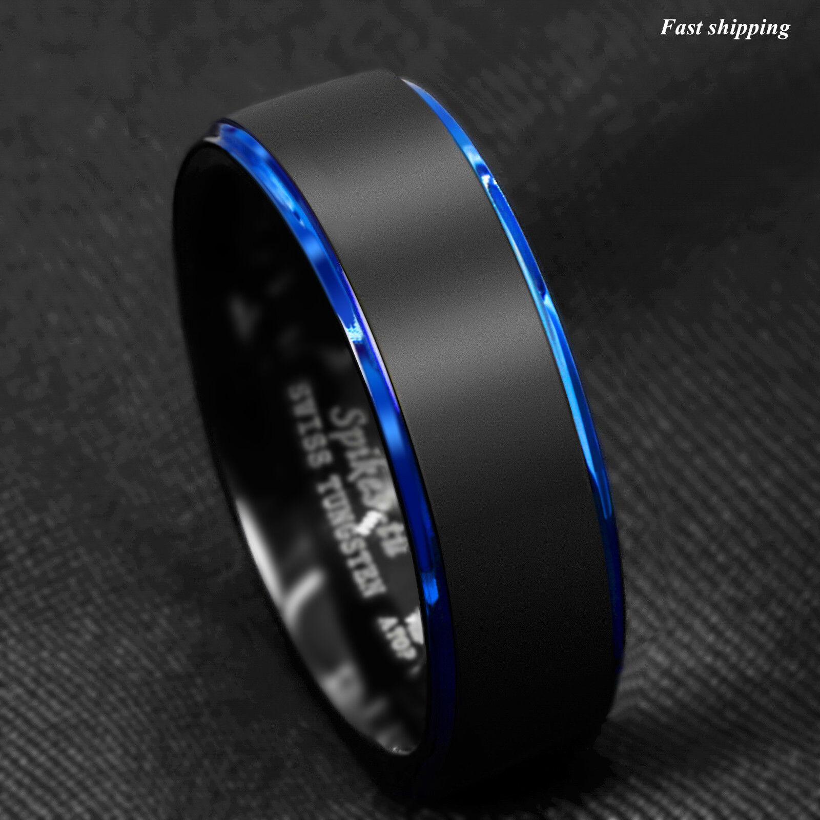 8 6mm Tungsten Ring Black Brushed Blue Stripe Wedding Band Atop Men S Jewelry