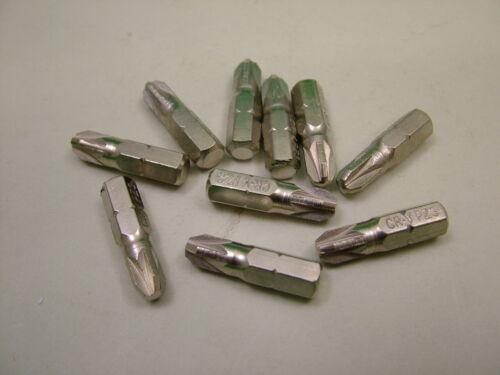"""1//4/"""" Hex 25 mm Long Chrome Vanadium Acier Pozi no.3 Screwdriver Bits Pack de 10"""