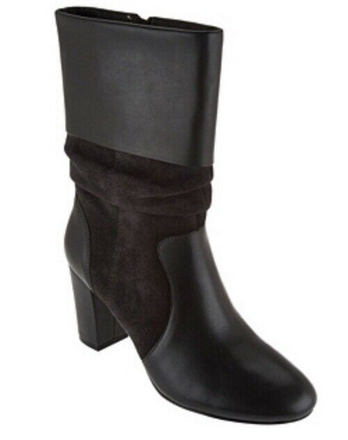 C. Wonder Leather and Suede Mid-Calf Slouch Boots - Amanda STORM GREY Sz. 7M NIB