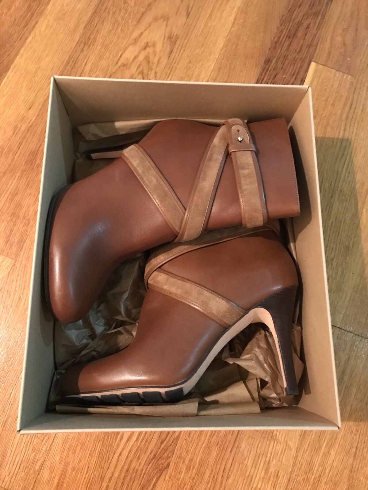 Cole Haan Women Air Talia Strappy Short Leather Ankle Booties Dark Amber Size 8