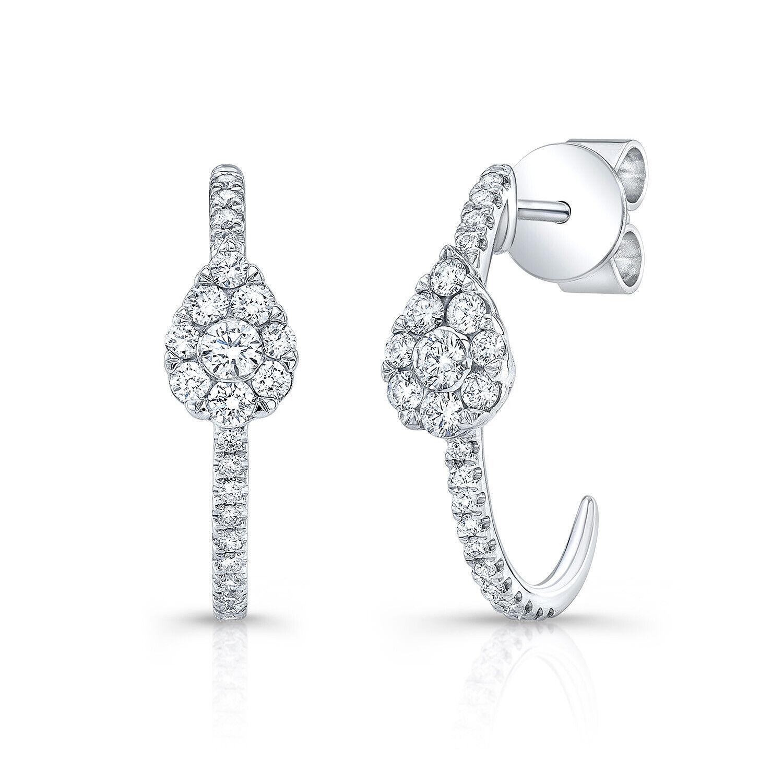 0.45 TCW 14k White gold Round Cut Diamond Teardrop J-hoop Pave Pear Earrings