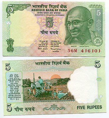 INDIA 5 RUPEES 2001-2002 P 88A 88 UNC