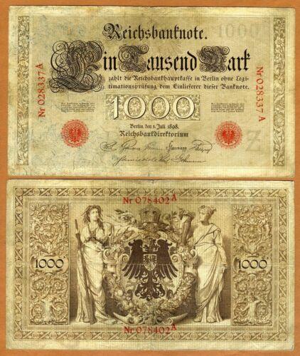 Germany Pick 21 VG /> Scrace 1,000 Mark 1000 1898