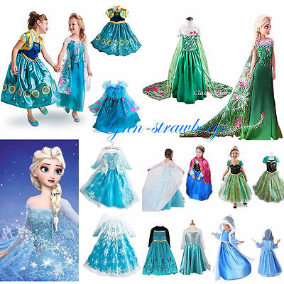 Halloween Kids Girls Costume Cosplay Party Princess Frozen Elsa Anna Fancy Dress