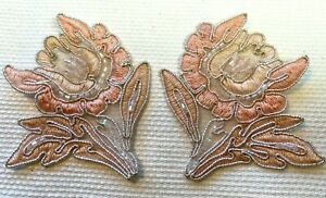 Applique-Flower-Beads-Embroidered-3-1-4-034-Peaches-Soutache-Hand-Sewn-2pcs