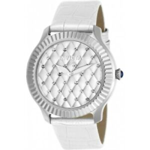 Invicta-22561-Angel-Quartz-Quilted-Dial-White-Patent-Leather-Strap-Womens-Watch