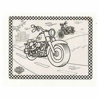 Harley-davidson Color Me Motorcycle Silicone Placemat For Kids - Gift