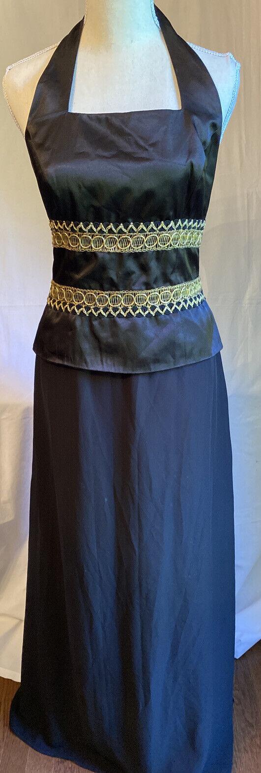 Chadwicks Halter Style Black w/ Gold Trim Evening Gown Formal Prom Size 8 EUC