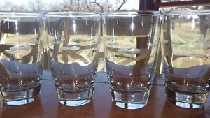 Flat Tumblers glasses Starglow by LIBBEY GLASS COMPANY 4 10oz etched glasses