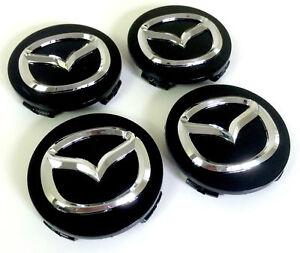 Mazda-4x-56mm-Nabendeckel-Felgendeckel-Nabenkappe-Schwarz-Black