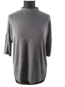 Vero-Moda-Damen-Pullover-Gr-M-Grau-Schwarz-Kurzarm-Leichter-Rolli-Elegant
