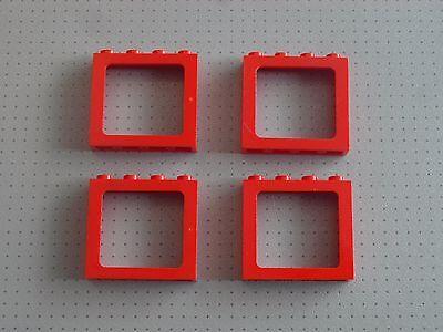 Lego Eisenbahn TRAIN Fenster normal ROT 4x3 mit Scheibe WINDOW