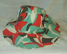 French Connection Hat Summer Brown Red Blue 54cm New without Tags