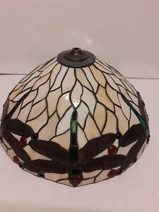 Dettagli su Paralume grande lampadario stile Tiffany da 40 cm arredo lume vintage unico
