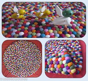 NEW-Felt-Ball-Rug-Handmade-Round-Floor-Mat-100cm-For-Baby-039-s-Nursery-Kids-039-Room