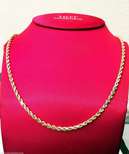Mens Women 14k Yellow Gold Chain Hollow Rope Necklace 5mm 22