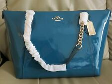 NWT COACH Ava Chain Luxurious Patent Leather Shoulder Bag Tote F57308- Atlantic