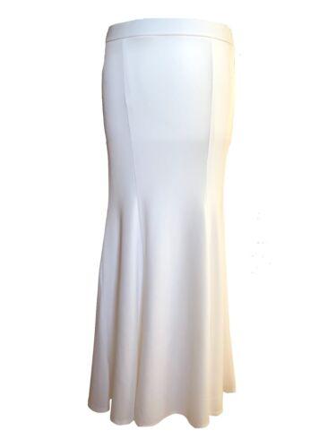 Off White Cream Long Plain Fishtail Mermaid Body Con Slinky Trumpet Maxi Skirt