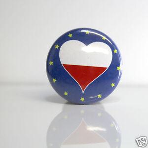 2-Badges-Europe-25mm-PIN-BACK-BUTTON-Pologne-Polska