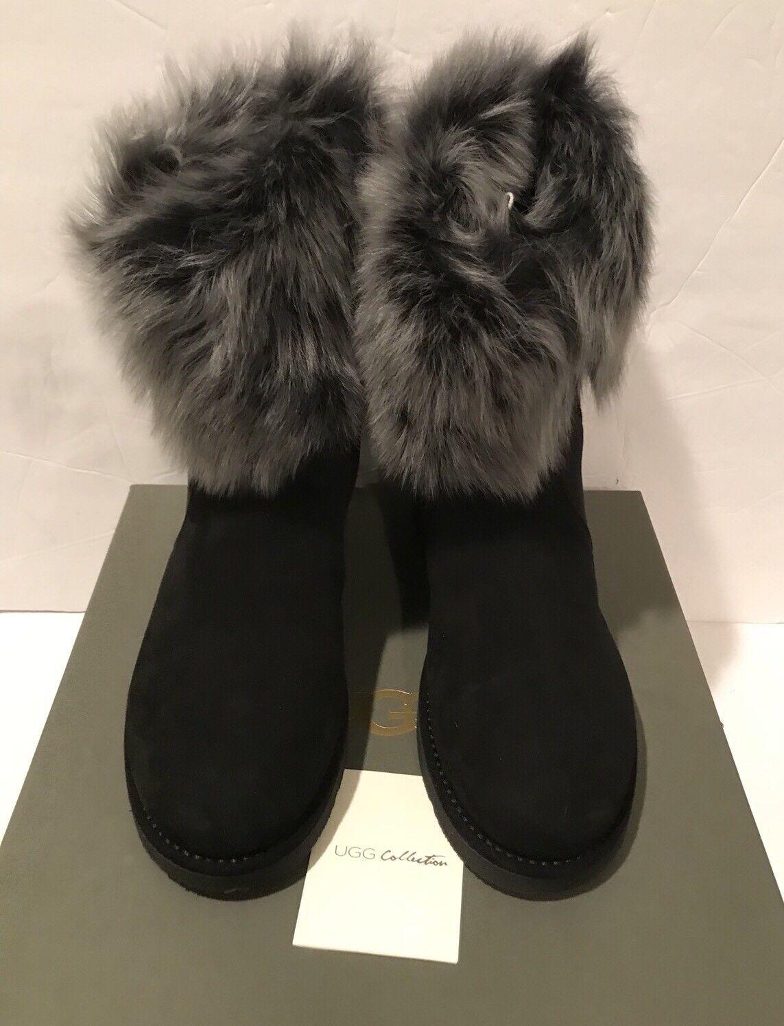 Ugg Lora Collection Black Grey Grey Sheepskin Short Classic Made in Italy Sz 7