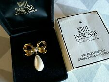 NEW ELIZABETH TAYLOR VINTAGE WHITE DIAMONDS BOW PEARLED BROOCH