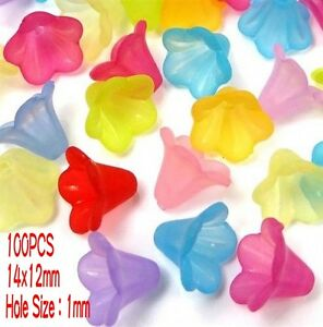 100 Mixed Bell Trumpet Flower Frosted Acrylic Beads Cap 14x12mm