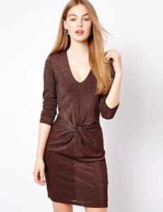 Bnwt Ted Baker Copper Rose Gold Sparkly Lizzey Twist Stretch Party Dress Uk 8 Ebay