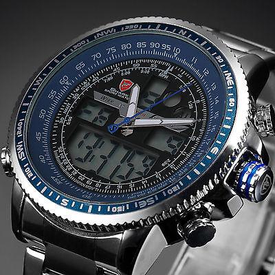 SHARK Fashion Mens Blue LCD Digital Stainless Steel Date Day Sport Quartz Watch