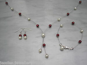 33-Cristal-Artesanal-Perla-Set-De-Joyeria-Collar-Pulsera-Pendientes-Boda