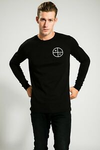 HIGH-QUALITY-MEN-039-S-BLACK-SUMMER-LONG-SLEEVE-WITH-PRINT