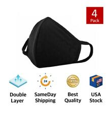 4Pcs x Double Layer Black Cotton 3D Washable Face Mask / Reusable
