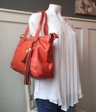 Cuore & Pelle AMELIA BAG Large Orange Pebbled Leather Shoulder Handbag $325
