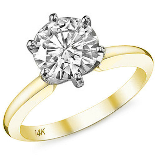 1.5CT Unique 14K Two Tone Forever Brilliant Moissanite Solitaire Engagement Ring