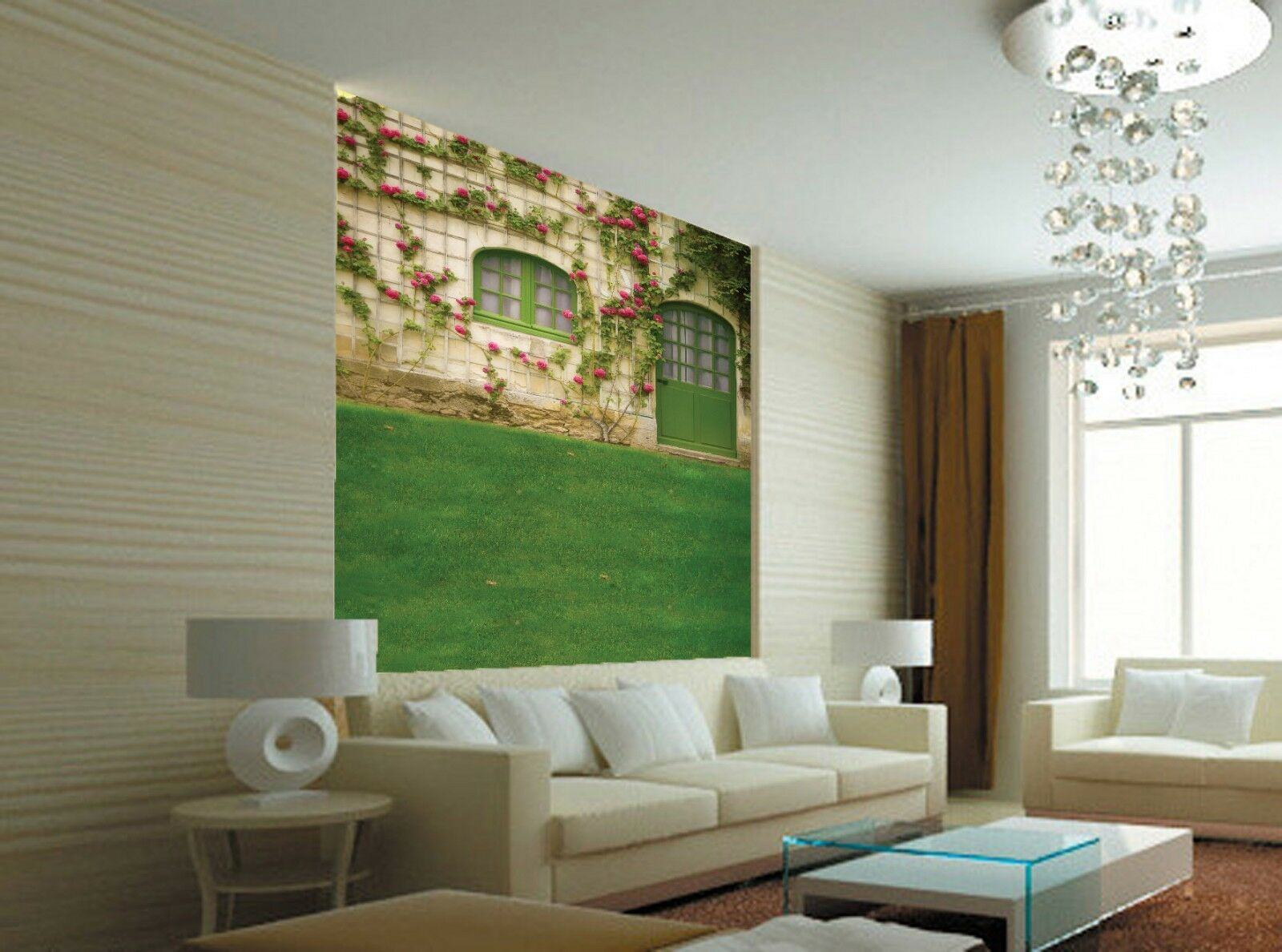 3D Flowers Lawn Painted Paper Wall Print Wall Decal Wall Deco Indoor Murals