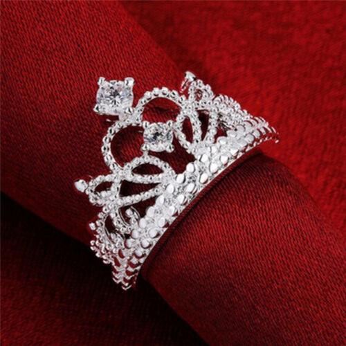 Women 925 Silver Plated Princess Wedding Band Zircon Crown Ring Jewelry、Pop