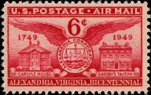 1949 6c Alexandria Bicentennial, Virginia Scott C40 Min