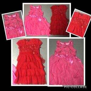b864c0f40d Details about GIRLS LOT OF 2 SPECIAL OCCASION DRESSES RED PINK FANCY  HOLIDAY SPARKLE SIZE 12