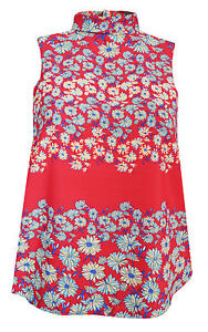 New-Next-size-6-22-Red-Blue-Floral-Print-Sleeveless-High-Roll-Neck-Top-Blouse