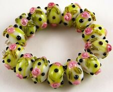 14pcs Lampwork Glass Beads Handmade Rose Green Pink Flower Loose Rondelle Spacer