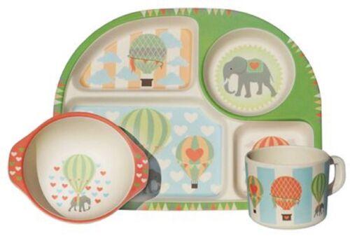 BimBamBoo Bambus Kinder Geschirr 3er Set Hot Air Ballons Tasse Teller Schale
